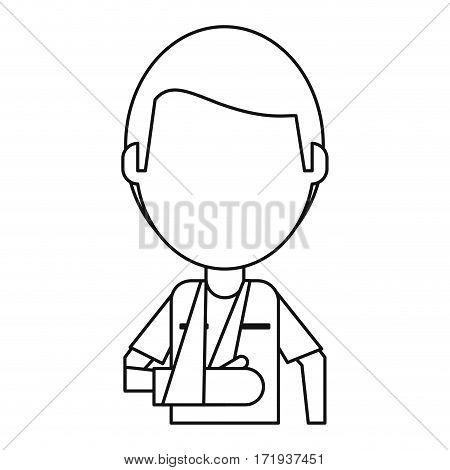 people patient broken arm thin line vector illustration eps 10