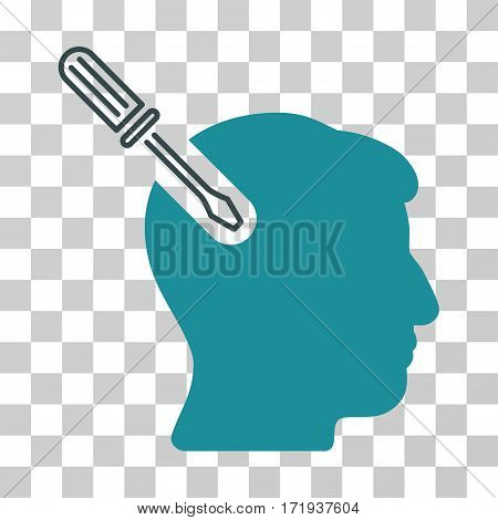 Head Surgery Screwdriver vector pictogram. Illustration style is a flat iconic bicolor soft blue symbol on a transparent background.