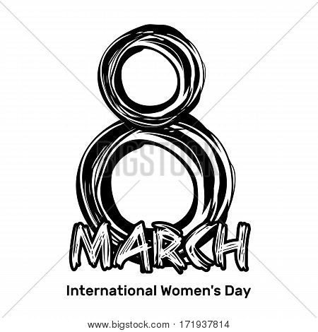 March 8. Hand drawn scribble lettering. International Women's Day. Black inscription isolated on a white background. Vector design element for Women Day