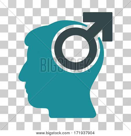 Intellect Potency vector pictograph. Illustration style is a flat iconic bicolor soft blue symbol on a transparent background.