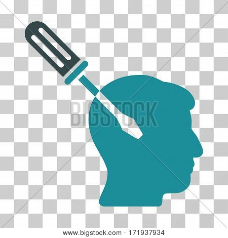 Intellect Screwdriver Tuning vector pictograph. Illustration style is a flat iconic bicolor soft blue symbol on a transparent background.