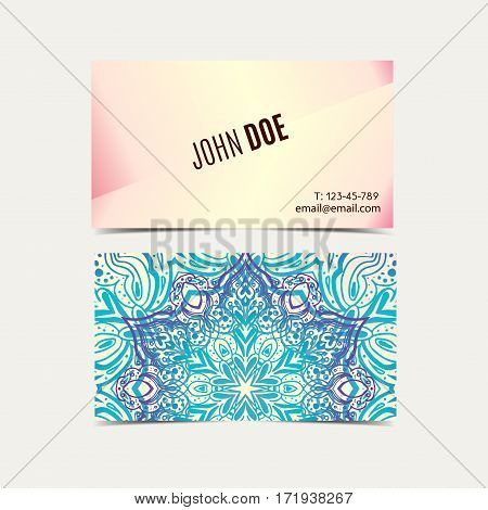 Vector vintage business cards. in ethnic Indian style. Flower Mandala tender. Oriental Layout template. Islam, Arabic, Indian, ottoman motifs. Front and back page.