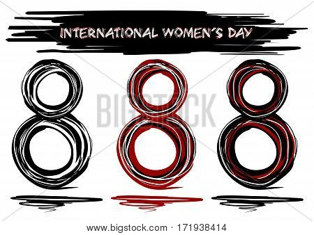 Hand drawn design elements for International Women's Day. Doodle style. Vector hand drawn decorative element for 8 march design. Set of 3 eights drawn in grunge style