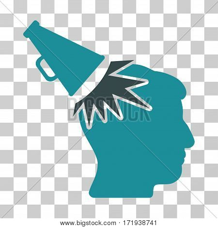 Megaphone Impact Head vector icon. Illustration style is a flat iconic bicolor soft blue symbol on a transparent background.