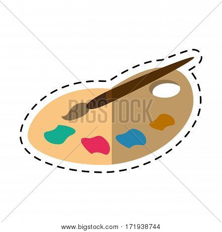 cartoon palette color paint brush vector illustration eps 10
