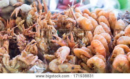 shrimp  fried food, deep  shrimps and  prawn