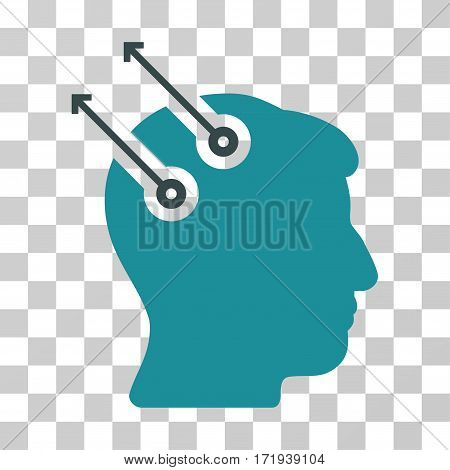Neural Interface Plugs vector icon. Illustration style is a flat iconic bicolor soft blue symbol on a transparent background.