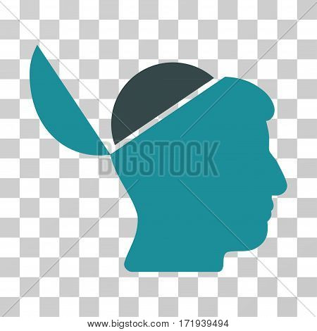 Open Brain vector icon. Illustration style is a flat iconic bicolor soft blue symbol on a transparent background.