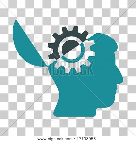 Open Mind Gear vector icon. Illustration style is a flat iconic bicolor soft blue symbol on a transparent background.
