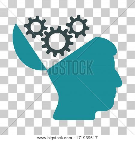 Open Mind Gears vector icon. Illustration style is a flat iconic bicolor soft blue symbol on a transparent background.