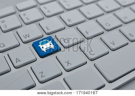 Car icon on modern computer keyboard button Business service car concept