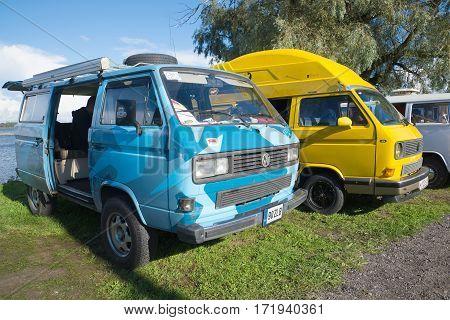 SAINT PETERSBURG, RUSSIA - SEPTEMBER 04, 2016: Two minibuses