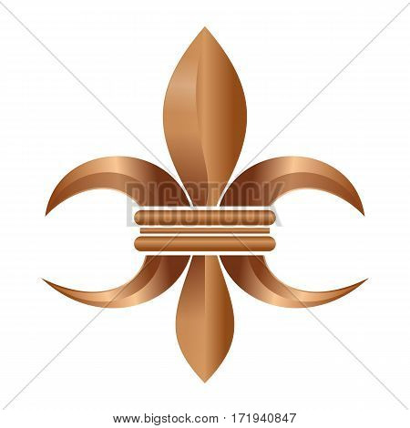 Golden Fleur-de-lis or flower-de-luce. Stylized lily. Decorative design or symbol. Heraldic. Also royal (Bourbon) lily. Vector illustration isolated on white background