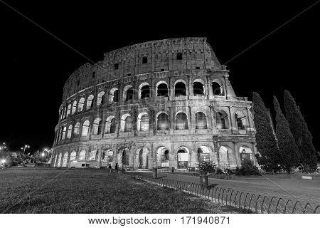 very beautifull Rome's circus Coliseum illuminated at night