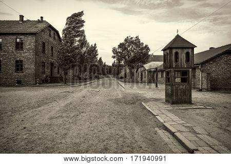 OSWIECIM POLAND - AUG 18: concentration camp Auschwitz on August 18 2015 in Oswiecim Poland.