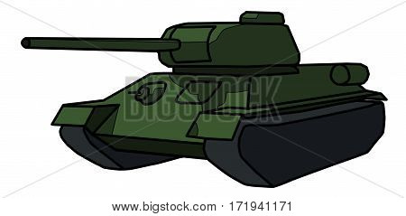 painted a Soviet tank on a white background