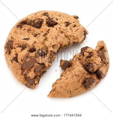 One broken Chocolate chip cookie isolated on white background. Sweet biscuit crumbs. Homemade pastry.