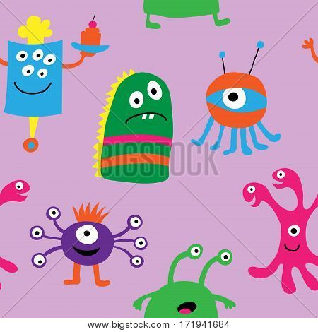 Seamless pattern of a monsters on a purple background