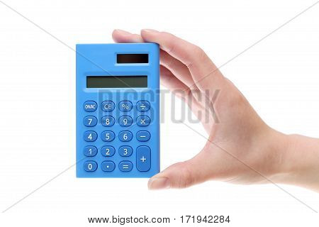 Hand holding small calculator isolated on white background