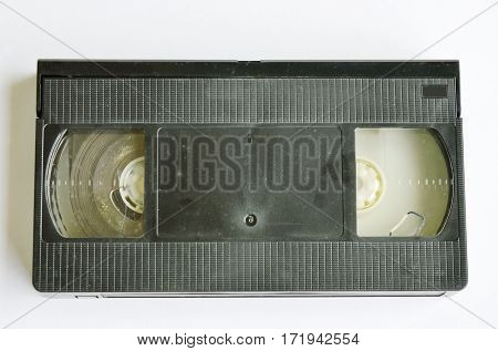 old video tape recorder on white background