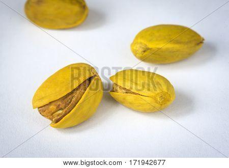 Iranian pistachios. Macro close-up