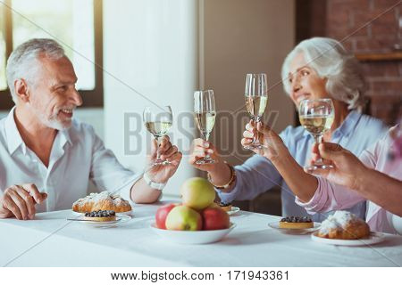 Nice family traditions. Positive loving aged couple sitting at the table with their family and making toast while enjoying celebration