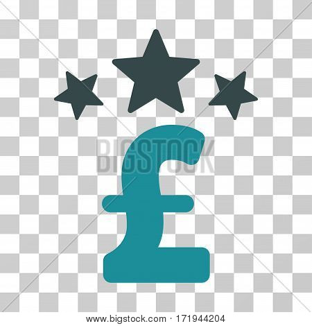 Pound Business Stars vector pictogram. Illustration style is a flat iconic bicolor soft blue symbol on a transparent background.