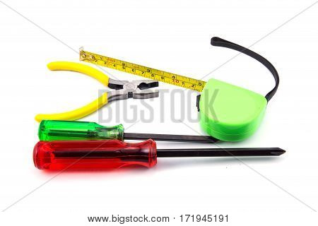 Tape Measure, Pliers, Screwdriver, Work Tool Isolated On White Background