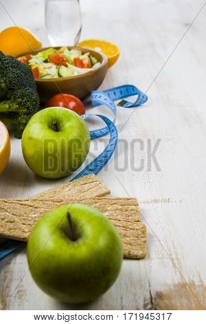 Food For Diet  On A Wooden Table.