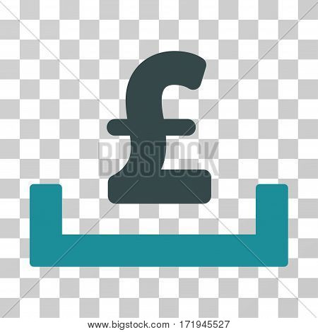 Pound Deposit Placement vector pictogram. Illustration style is a flat iconic bicolor soft blue symbol on a transparent background.