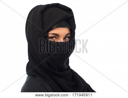 religious and people concept - happy muslim woman in hijab over white background