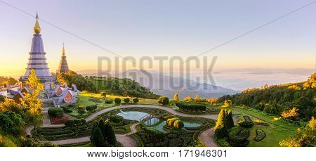 Landscape of two pagoda on the top of Inthanon mountain Chiang Mai Thailand. Nature outdoor park and travel