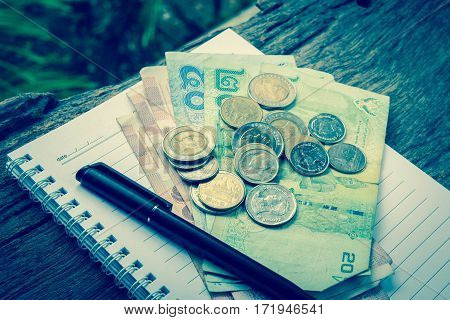 Currency And Paper Money Of Thai, Saving Account And Money Concept