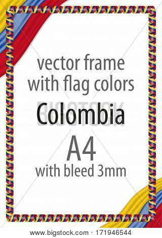 Frame and border of ribbon with the colors of the Colombia flag