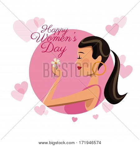 happy womens day card girl daisy flower pink hearts image vector illustration eps 10