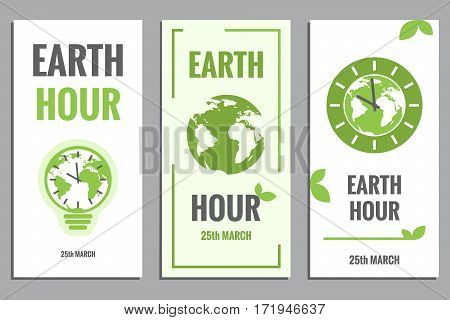 Vector Template Of Earth Hour Or Daylight Saving Time