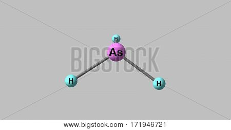 Arsine or Arsane is an inorganic compound with the formula AsH3. This flammable pyrophoric and highly toxic pnictogen hydride gas is one of the simplest compounds of arsenic. 3d illustration