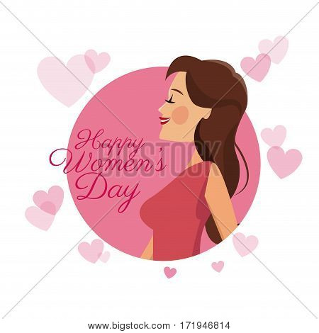happy womens day card girl brunette pink hearts image vector illustration eps 10