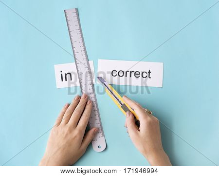 Incorrect Wrong Hand Cut Word Split Concept