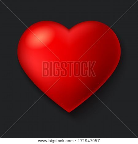 Big red, a scarlet heart isolated on dark background with shadow. Symbol, Icon, 3D illustration for use in template for greeting card, shape closeup, red heart icon for web sites and apps.