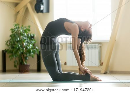Young attractive woman practicing yoga, stretching in Ustrasana exercise, Camel pose, working out, wearing sportswear, grey tank top, pants, indoor full length, home interior or sport club background