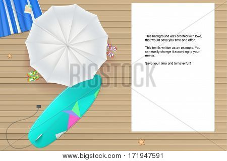 Background for summer holidays. White sun umbrella, surfboard, flip-flops and a beach Mat on the wooden background from light brown straps. Tropical seashore, top view. Summer travel background.