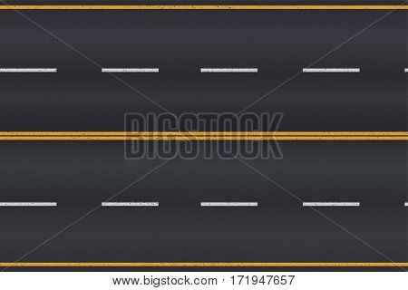 Asphalt road texture with white stripes. Vector illustration