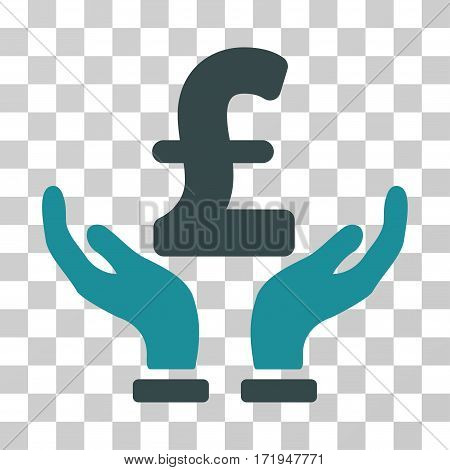 Pound Insurance Hands vector pictogram. Illustration style is a flat iconic bicolor soft blue symbol on a transparent background.