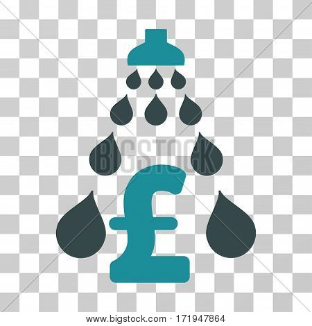 Pound Laundering vector pictogram. Illustration style is a flat iconic bicolor soft blue symbol on a transparent background.
