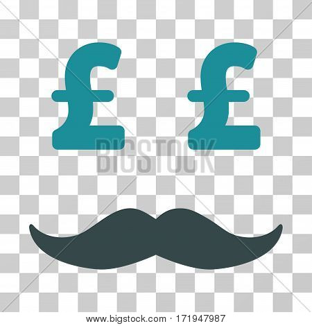 Pound Millionaire Mustache vector icon. Illustration style is a flat iconic bicolor soft blue symbol on a transparent background.