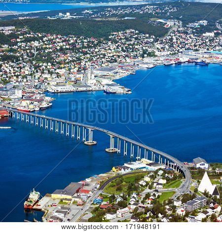 Tromso bridge in Norway. Sea port view