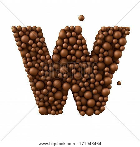 Letter W made of chocolate bubbles milk chocolate concept 3d illustration.