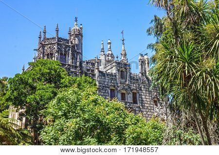 Palace Quinta da Regaleira, Sintra, Portugal. Palace with symbols related to alchemy Masonry the Knights Templar and the Rosicrucians
