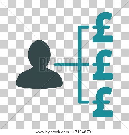 Pound Payer Relations vector pictograph. Illustration style is a flat iconic bicolor soft blue symbol on a transparent background.